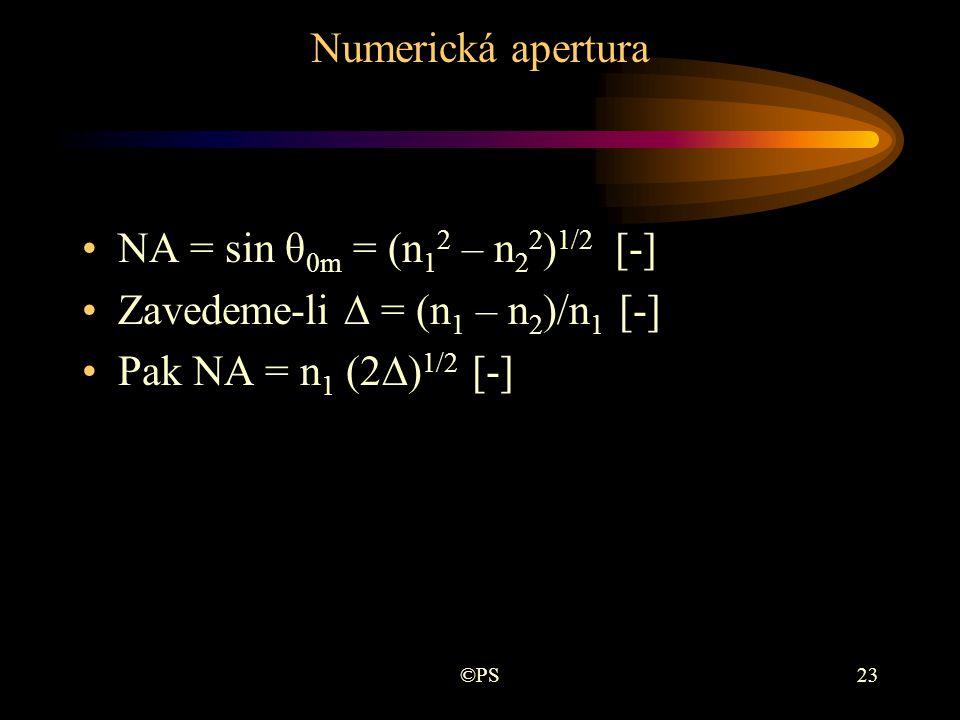 Zavedeme-li ∆ = (n1 – n2)/n1 [-] Pak NA = n1 (2∆)1/2 [-]